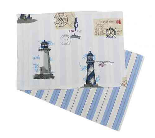 Cotton table mat lighthouses