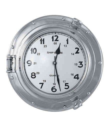 Flat porthole clock 28,5cm nickel plated brass