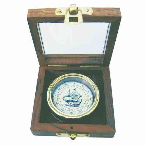 Compass with ship in a box