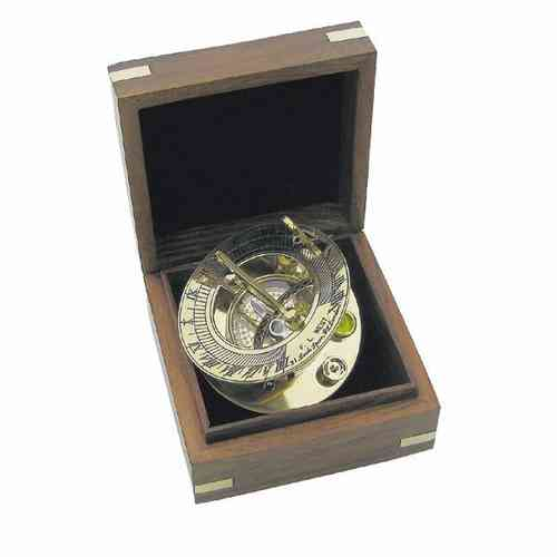Sundial-Compass in wood box