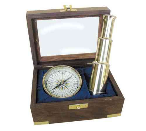Compass and telescope in wood box