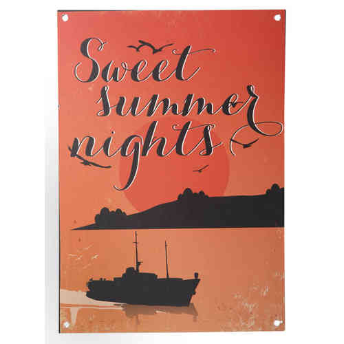 Metallitaulu Sweet Summer Nights 21x30 cm