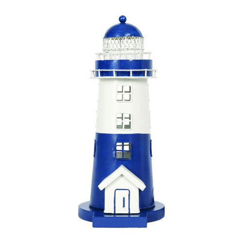 Lighthouse electrified blue and white 30 cm