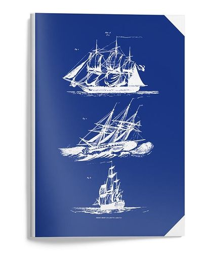 Blue notebook A5 with sailboats
