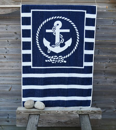 Striped anchor towel