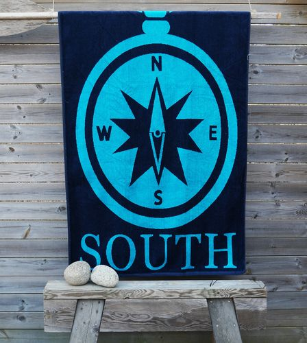 Beach towel with compass
