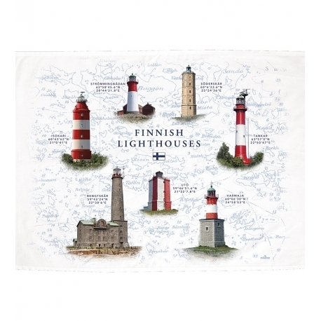 Finnish lighthouses kitchen towel