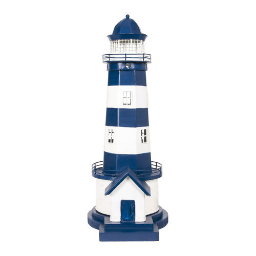 Lighthouse electrified blue and white 41 cm