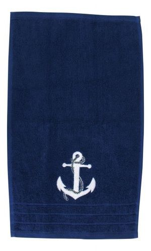 Blue guest towel with anchor
