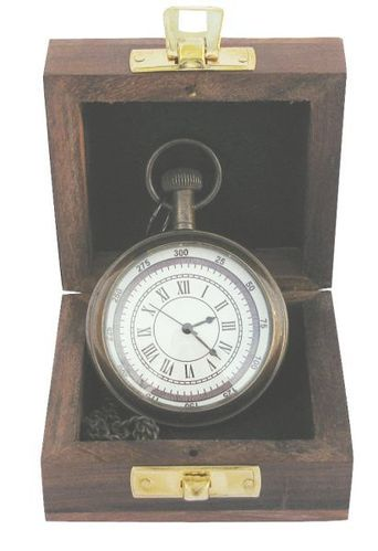 Pocket clock with chain Ø: 5,5cm, in wooden box