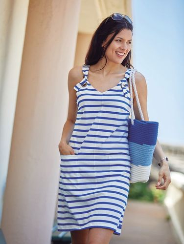 Striped sleeveless dress for women