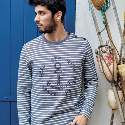 Men's long-sleeved shirt with anchor