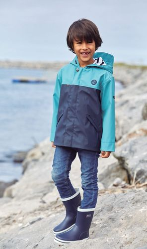 Two colour navy raincoat