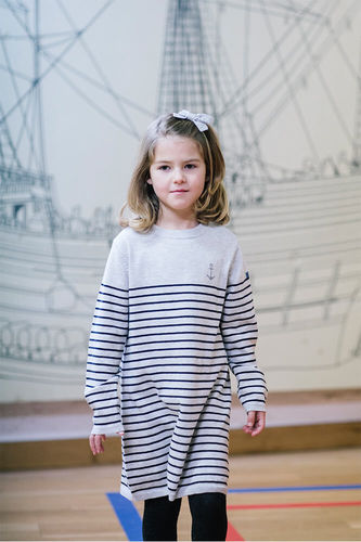 Girls' dress with stripes