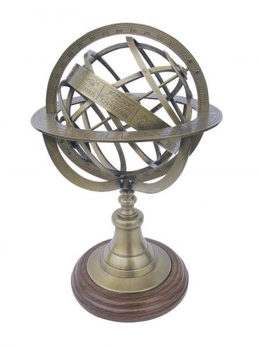 Armillary sphere, antique brass on wooden base