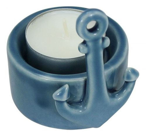 Tealight -Anchor, blue Ø6cm, high 7,5cm