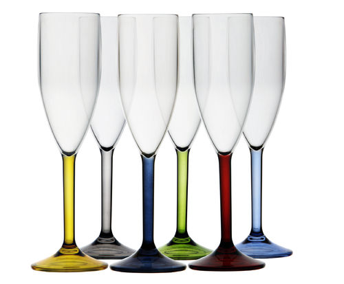 Party champange flutes 6-pack multicolour