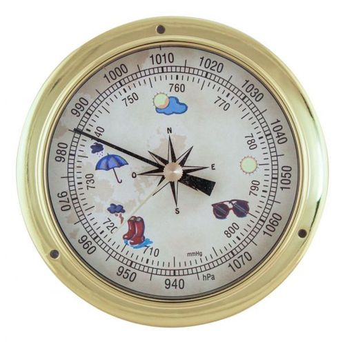 Barometer, brass, coloured dial, Ø: 11,5/9cm, H: 3,4cm
