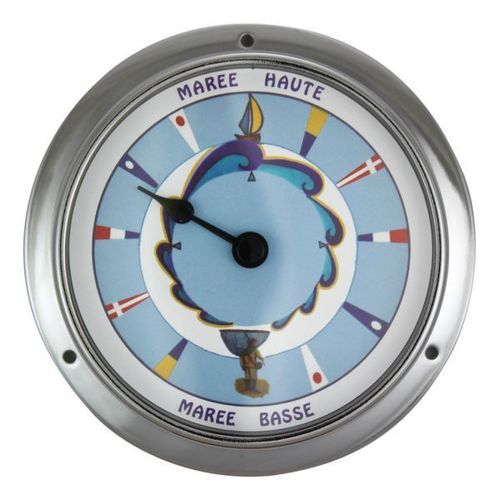 Tide-clock, chromed, coloured dial, Ø: 11,5/9cm, H: 3,4cm