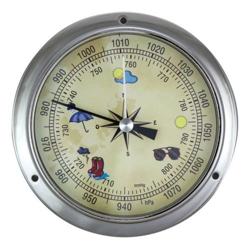 Barometer, chromed brass, coloured dial, Ø: 11,5/9cm, H: 3,4cm