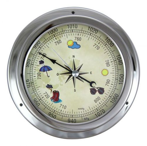 Barometer, chromed, coloured dial, Ø: 14,5/10cm, H: 4,2cm