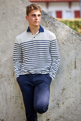 Nautical polo with long sleeves