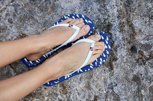 Flip flops with fish print