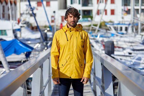 Nautical raincoat with cotton lining men