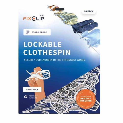 FixClip Mini lockable clothespin 16 pcs