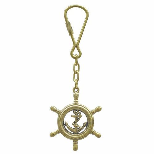 Keyring steering wheel with anchor brass