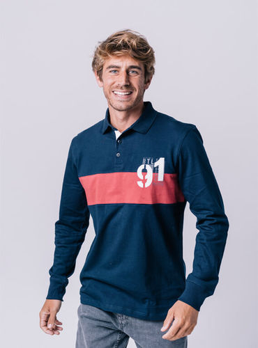 Long sleeve '91' polo shirt