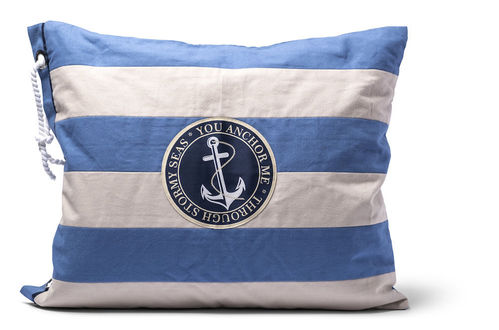 Pillow cover stripes with anchor